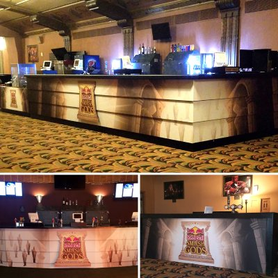 "We fabricated and installed all these custom graphics for the ""Red Bull Smash Gods and Gate Keepers"" event at the historic Wiltern theatre."