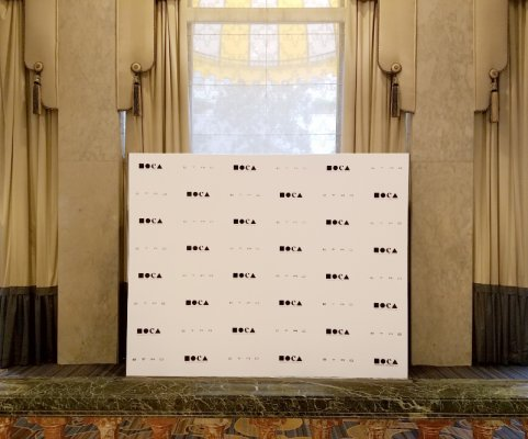 "We printed this 8'x10' non-glare fabric press wall for MOCA's "" Women in the Arts"" luncheon."