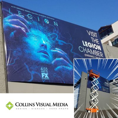 We printed this huge 16' x 28' wall graphic on the side of Goya Studios.