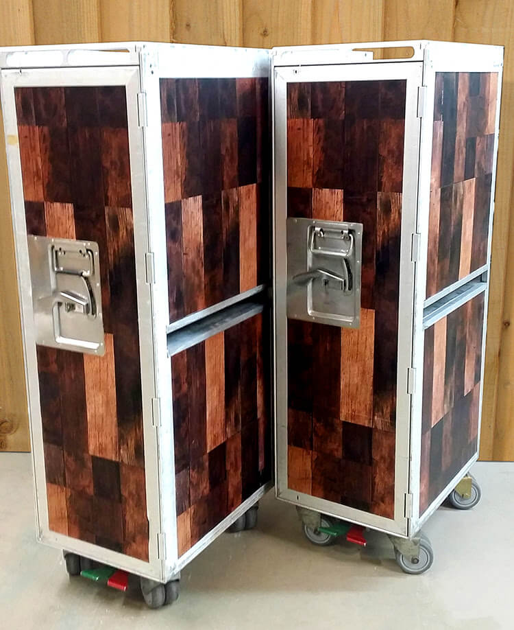 Beverage Service Carts Wrapped With Wood Vinyl For Jack Daniels