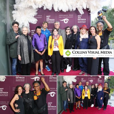 """We printed this 9' x 8' backdrop on a seamless fabric material, for the """"Not An Ostrich"""" Exhibit Opening Party at the Annenberg Space For Photography."""