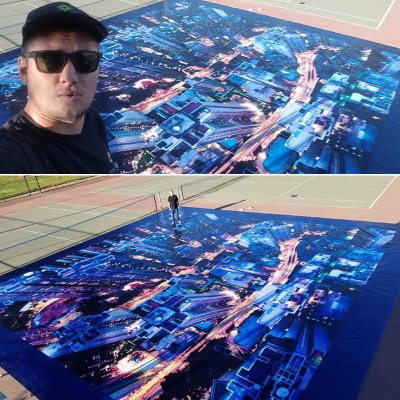 "Here is a birds eye view of a huge graphic we printed! It measures 552"" x 552""!"