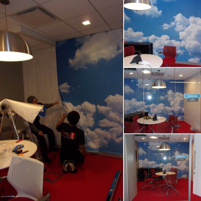 Installation of clouds wall graphics